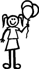 Girl, 5.6 inch Tall, Ballons, Stick people, vinyl decal sticker