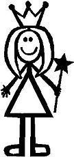 Girl, 5.3 inch Tall, Princess, Stick people, vinyl decal sticker