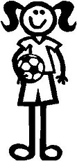 Girl, 5.2 inch Tall, Soccer, Stick people, vinyl decal sticker