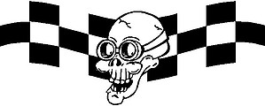Skull wearing goggles, with checker flag, Vinyl cut decal