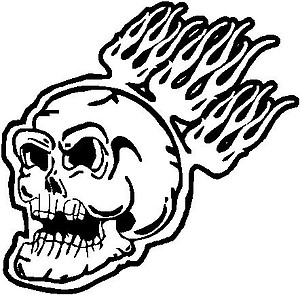 Flaming skull, Vinyl cut decal