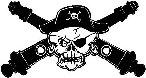 Pirate and cross canons, Vinyl cut decal