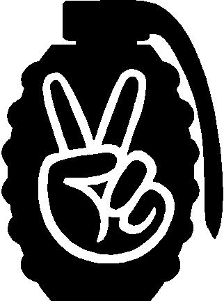Peace sign in a grenade, Vinyl decal sticker