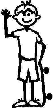 Boy, 5.2 inch Tall, Skate Board, Stick people, vinyl decal sticker