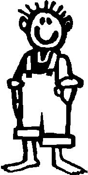 Guy, Hillbilly, 5 inch Tall, Stick people, vinyl decal sticker