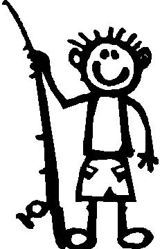 Boy, 5 inch Tall, Fishing, Stick people, vinyl decal sticker