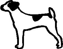 Dog, 2.2 inch Tall, stick people, vinyl decal sticker