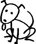 Dog, 2.3 inch Tall, stick people, vinyl decal sticker