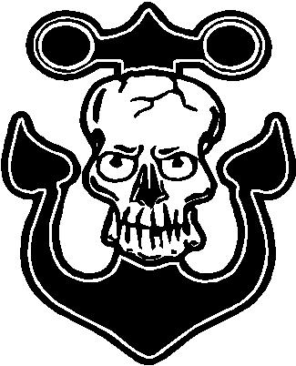 Skull on an anchor, Vinyl cut decal