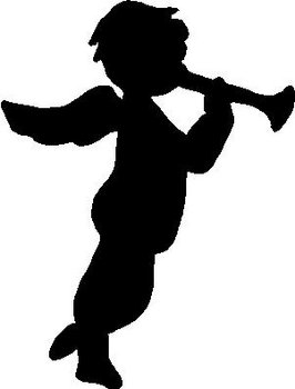 Angel blowing a horn, Vinyl cut decal