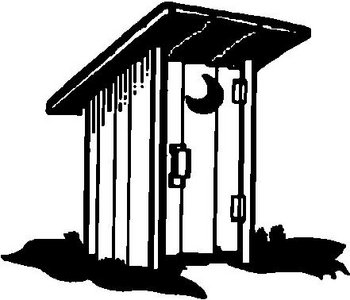 Out House with Half moon on door, Vinyl cut decal on outhouse prints, outhouse posters, outhouse ornaments, outhouse signs, outhouse theme decor, outhouse kits, outhouse decorations, outhouse fabric, outhouse silhouette, outhouse foam, outhouse stamps,