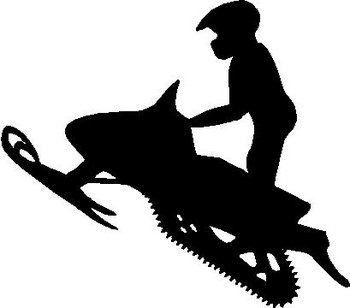Snowmobile and Rider, Vinyl cut decal