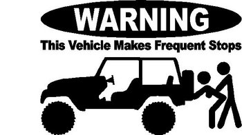 WARNING, This vehicle makes frequent stops, Jeep, Vinyl cut decal