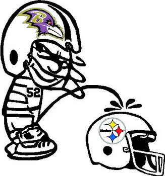 Ravens, football helmet, Calvin peeing on the Steelers Helmet, Full color and vinyl cut decal
