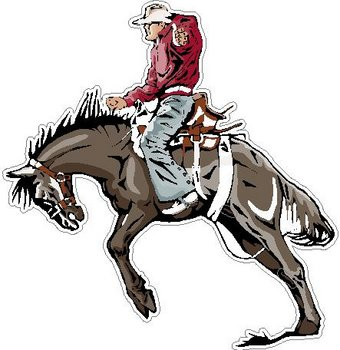 Cowboy riding a bucking horse, Full color decal