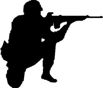 Soldier Shooting an M16, Vinyl; cut decaL