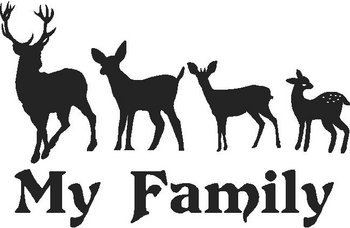 Buck, Mom Deer, Baby deer and Baby Fawn, Stick People Deer Family Decal