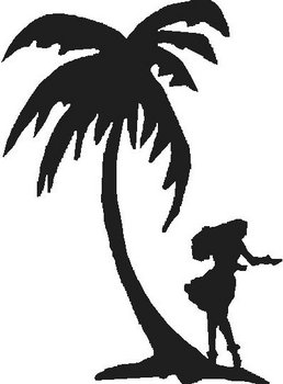 Palm tree and Hulo girl dancing, Vinyl cut decal