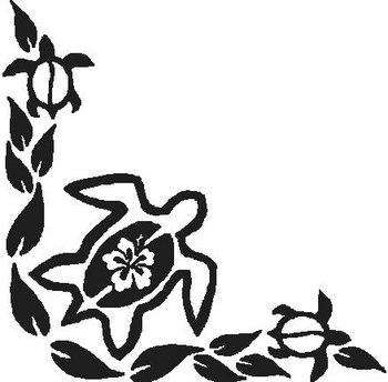 Hibiscus flower and three turtles and leafs, Vinyl cut decal