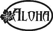Aloha, with a hibiscus flower, Vinyl cut decal