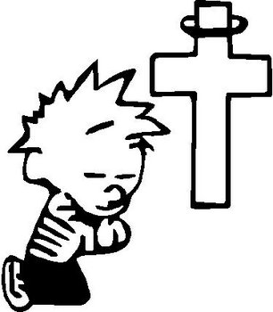 Calvin praying at the cross, Vinyl decal sticker