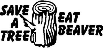 Save a tree eat beaver, Vinyl decal sticker