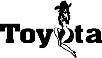 Cowgirl sitting on Toyota, Vinyl decal sticker