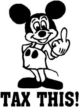 Mickey mouse flipping you off saying Tax this!, Vinyl decal sticker