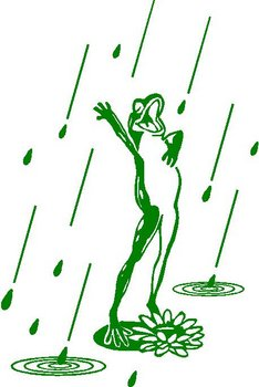 A frog singing in the rain, Vinyl decal sticker, Vinyl decal sticker