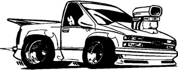 Chevy Truck with blower, vinyl cut decal