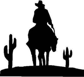 Cowboy riding in the desert, Vinyl cut decal