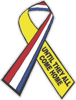 Support our troops ribbon, Until they all come home, Full color decal