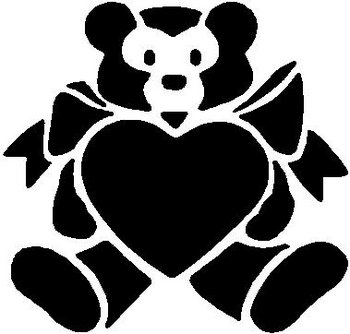 Teddy bear with a heart, Vinyl cut decal