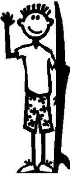 Boy, 5.3 inch Tall, Surfer, Stick people, vinyl decal sticker