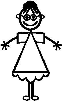 Girl, 4.8 inch Tall, stick people, vinyl decal sticker