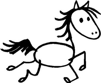 Horse, stick people, vinyl decal sticker