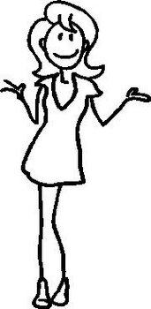Girl, 5.1 inch Tall, stick people, vinyl decal sticker
