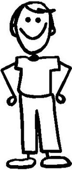 Guy, 5.2 inch Tall, stick people, vinyl decal sticker