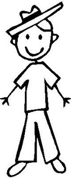 Boy, 5.4 inch Tall, stick people, vinyl decal sticker