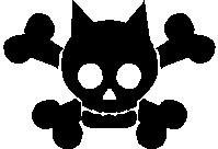 Boy Cat, Skull, stick people, vinyl decal sticker