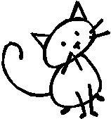 Cat, 2.3 inch Tall, stick people, vinyl decal sticker